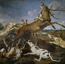 Ciervo acosado por una jauría de perros-Paul de Vos
